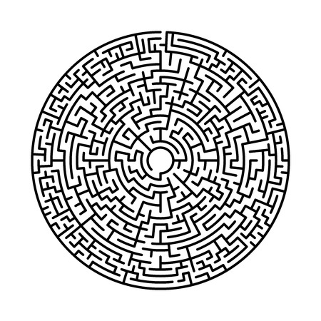 Maze in abstract style. Labyrinth game. Black maze circle. Black labyrinth. Maze symbol. Labyrinth isolated on white background. Ilustração