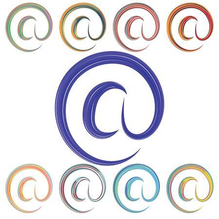Et. Trendy symbol of email, great design for any purposes. Modern geometric vector illustration. Simple illustration. Set of colorful symbols et