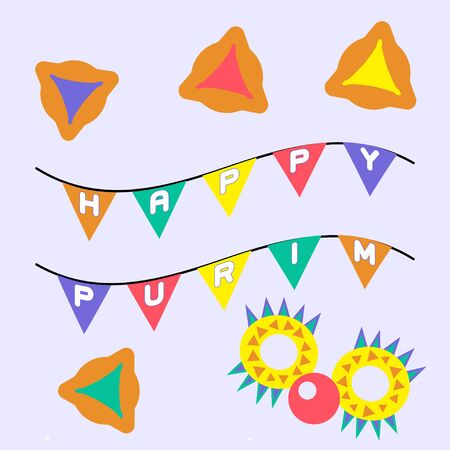 Purim banner template design. Jewish holiday vector illustration card. Happy Purim in Hebrew. Traditional vector greeting card. Graphic design. Greeting banner concept. Decoration background element Иллюстрация