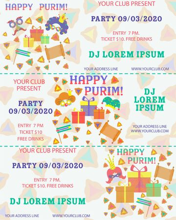Purim, great design for any purposes. Flyer, banner. Vector banner, poster design. Purim ticket illustration. Party invitation. Cartoon vector illustration. Template greeting. Template ticket.