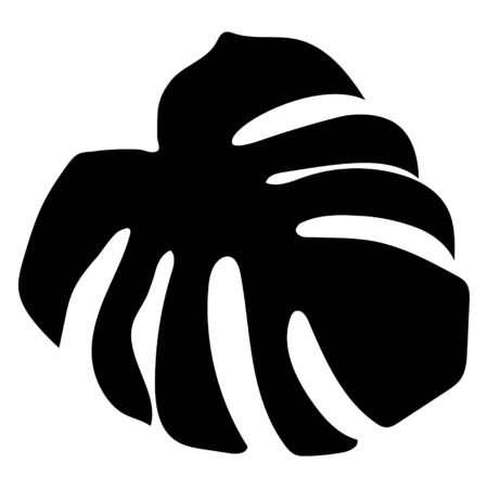 Black monstera leaf in beautiful style on white background. Element decorative floral. Tropical decoration plant leaf silhouette. Isolated vector design. Botanical drawing. White background Ilustração