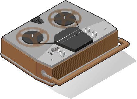 Classic 3d illustration with record player for concept design. Digital technology concept, vector illustration. Graphic isometric design element. Media player sign 3d technology style. Vector vintage Illusztráció