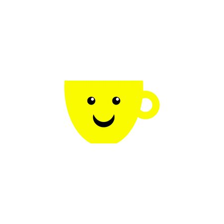 Cartoon cheerful cup for print design. Coffee mug with smile. Happy holiday, russia. Vector illustration template design. Cartoon illustration cheerful cup with smile. Vector card. Morning coffee
