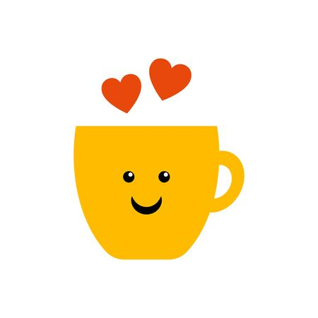 Coffee mug with smile and hearts vector. Morning coffee vector illustration. Tea cup with smile and hearts