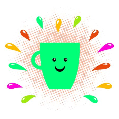 Coffee mug with smile vector. Morning coffee vector illustration. Tea cup with smile