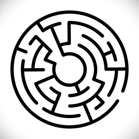 Cerchio di vettore semplice labirinto nero. Semplice labirinto nero. Simbolo del labirinto di vettore. Labirinto isolato su sfondo bianco. Disegno astratto della decorazione. Sfondo geometrico moderno. Simbolo del gioco educativo.