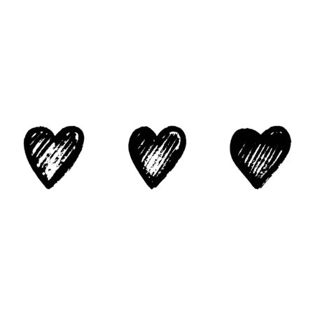 Set of abstract black hearts on white background for celebration decoration design. Hand drawing style. Valentine day, heart vector icon. Vector design. Holiday illustration. Decoration element.