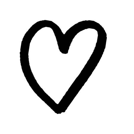 Abstract black heart on white background for celebration decoration design. Hand drawing style. Valentine day, heart vector icon. Vector design. Holiday illustration. Decoration element. Romantic love