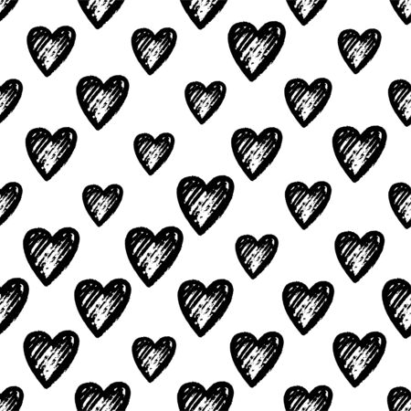 Retro seamless pattern. Vector isolated heart. Modern simple design. Abstract template.