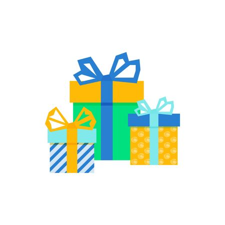 Set with gift for any design. Colorful blank cardboard package box. Product packaging. White background. Surprise symbol. Gift box Vector design template. . Holiday background. Christmas vector