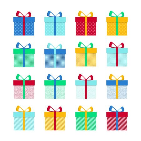Set with gift for any design. Colorful blank cardboard package box. Product packaging. White background. Surprise symbol. Gift box Vector design template. Holiday background. Christmas vector.