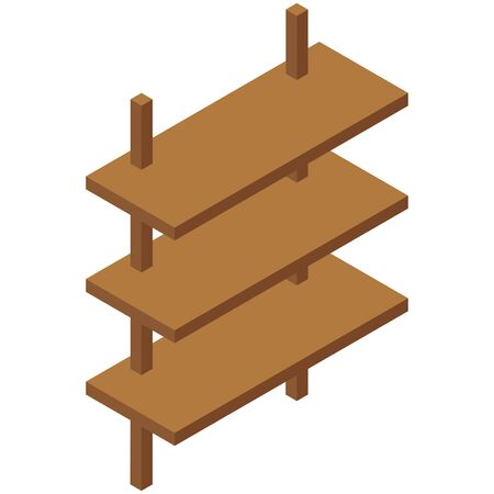 Modern shelf, great design for any purposes. 3d vector isometric. Realistic vector. Modern illustration. Isometric style. Flat design. Concept business illustration. Data storage.
