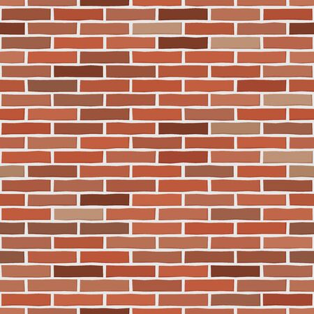 Brick wall textured wallpaper. Seamless vector pattern. Background material. Modern design. Geometric style. Stone wall. Vector seamless textured pattern. Brown and orange brick background.