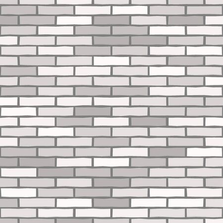 Brick wall textured wallpaper. Seamless vector pattern. Background material. Modern design. Geometric style. Stone wall. Vector seamless textured pattern. Gray and white brick background.