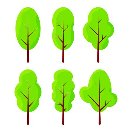 Modern flat illustration with green trees on white background for concept design. Flat graphic design. Trendy vector collection. Decoration element. Tree decoration. Colorful vector illustration.