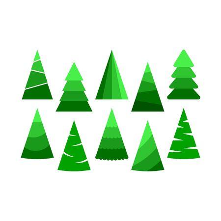 Set of hristmas trees. Beautiful cartoon colorful illustration on white backdrop. Vector design of cartoon christmas tree. Cute vector illustration. Winter season design element. Çizim