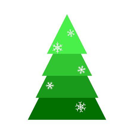 Árbol de Navidad. Hermosa ilustración colorida de dibujos animados sobre fondo blanco. Diseño vectorial de árbol de Navidad de dibujos animados. Ilustración de vector lindo. Elemento de diseño de temporada de invierno. Decoración de vacaciones de invierno.