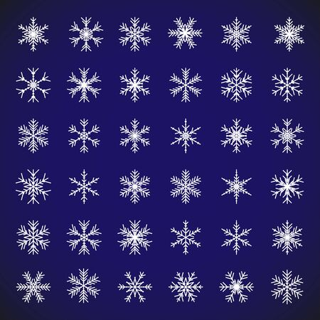 White snow symbol. Vector set of isolated snowflakes. Collection of white snow flakes on blue background for christmas and new year holiday illustrations. Abstract vector snowflake icon symbols. Çizim