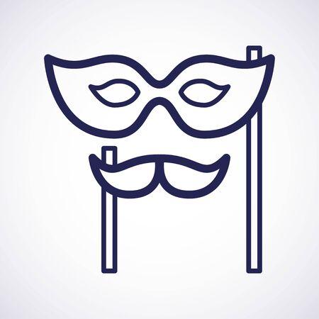 Carnival mask. Carnival festival vector design. Mustache mask. Vector art. Icon design. Line art icon. Holiday party celebration. Isolated symbol Illustration