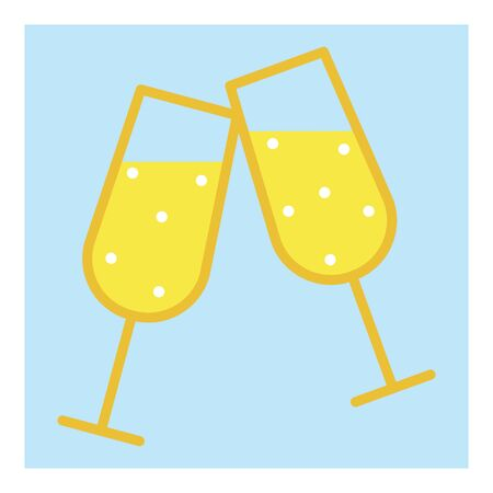 A couple of glass with golden champagne on light blue background for decoration design. Vector festive illustration. Vector illustration object. Icon with champagne glass for decorative design