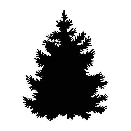 Schwarzfichte im schönen Stil auf weißem Hintergrund. Vektorgrafik