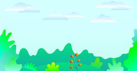 Beautiful nature landscape. Spring landscape. Flat green illustration. Growing concept. Vector nature green background. Summer background. Flat style vector illustration. Summer holiday season Çizim