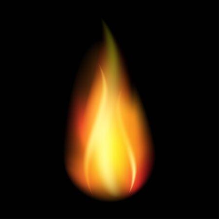 Realistic fire flames. Template for concept design. Black background. Danger concept. Design element. Line art illustration. Vector fire flames sign illustration isolated