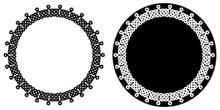 Set of round celtic knots frames. Traditional medieval frame pattern. Scandinavian or Celtic ornament as border. Medieval decor. Scandinavian pattern. Modern circle, great design for any purposes