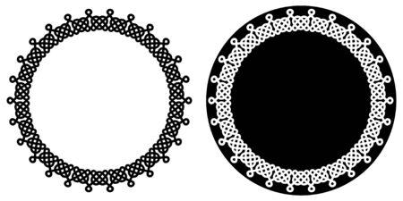 Set of round celtic knots frames. Traditional medieval frame pattern. Scandinavian or Celtic ornament as border. Medieval decor. Scandinavian pattern. Modern circle, great design for any purposes Reklamní fotografie - 134979095