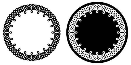 Set of round celtic knots frames. Traditional medieval frame pattern.