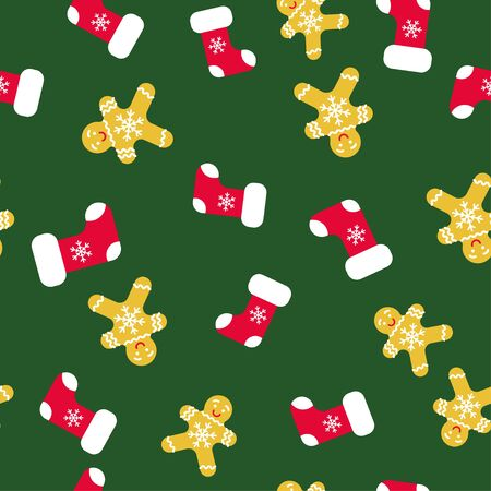Seamless pattern with trendy christmas socks, great design for any purposes.