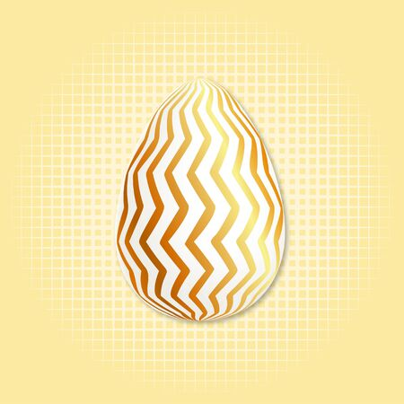 Gold egg in beautiful style. Egg on light background. Graphic vector design. Beautiful illustration. Party event decoration. Spring decoration. Seasonal holiday. Colorful background vector Foto de archivo - 135431333