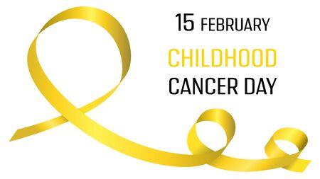 Día internacional del cáncer infantil. Cartel con cinta amarilla. Bandera médica. Campaña internacional de salud. Símbolo mundial de cáncer infantil. Tratamiento médico. Concepto global. Emblema de esperanza. Cuidado de la salud Ilustración de vector