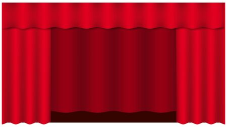 Theater curtain on white background. Theater stage. Decoration element. Classic cover design for decorative design. Red curtain. Isolated vector. Cinema premiere.