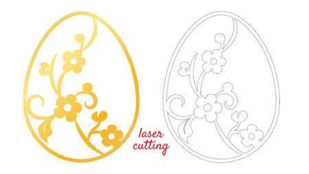 Laser cut for print design. Seasonal nature background. Cute vector illustration. Happy easter vector egg. Easter holiday symbol. Ornament decoration. Holiday decoration. Laser cut template.