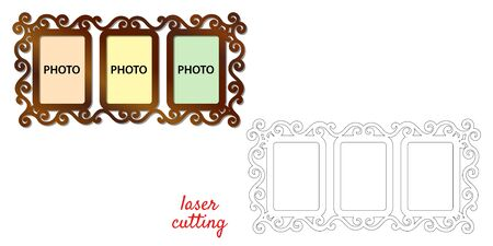 Frame for photos for laser cutting. Collage of photo frames. Template laser cutting machine for wood and metal. The perfect gift for St. Valentines Day or Weddings Day