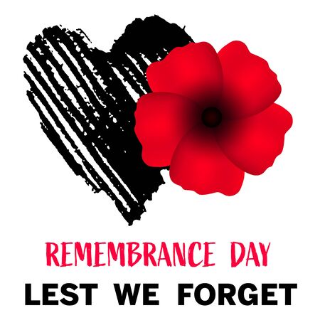 Remembrance day, great design for any purposes. Anzac. Poppy flower symbol. Military history. Vector illustration of a bright poppy flower. Remembrance day symbol. Lest we forget text Vetores