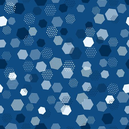 Modern blue seamless pattern with blue abstract background for classic vector design. Modern geometric vector texture. Abstract geometric seamless pattern. Hexagon background. Hexagonal cell texture