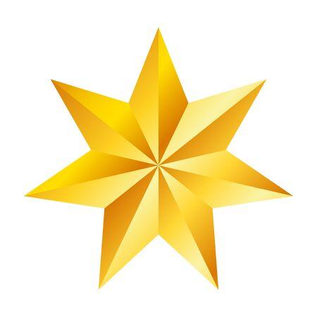 Złota siedmioramienna gwiazda, świetny design do dowolnych celów. Realistyczny efekt wektorowy. Streszczenie wektor ilustracja. Koncepcja uroczystości. Luksusowy szablon projektu. Jasna błyszcząca ilustracja
