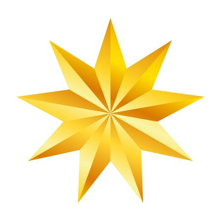 Golden nine pointed star, great design for any purposes. Realistic vector effect. Abstract vector illustration. Celebration concept. Luxury template design. Bright shiny illustration