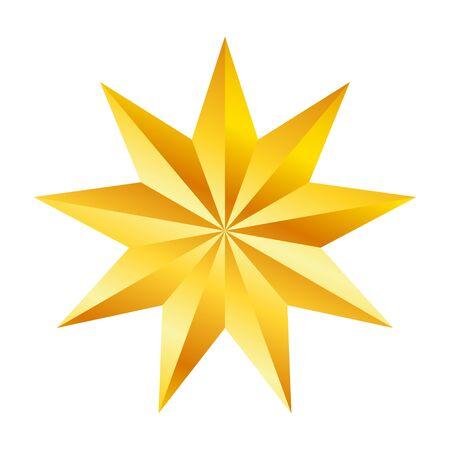 Stella dorata a nove punte, ottimo design per qualsiasi scopo. Effetto vettoriale realistico. Illustrazione vettoriale astratta. Concetto di celebrazione. Modello di design di lusso. Illustrazione brillante brillante Vettoriali