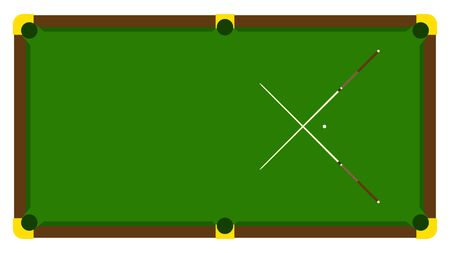Realistic illustration with pool billiard on table. Pool billiards tournament announcement poster with billiard cue on green table. Vector design for billiards championship for sport game players