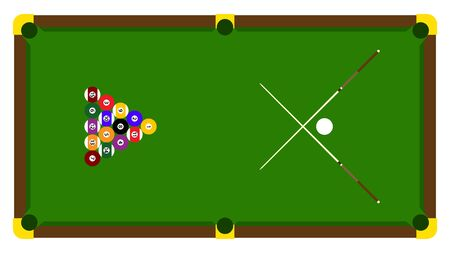 Realistic illustration with pool billiard on green table. Pool billiards tournament announcement poster of color balls on green table. Vector design for billiards championship for sport game players Illusztráció