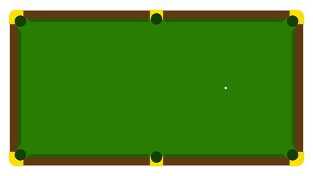 Realistic illustration with pool billiard on green table. Pool billiards tournament announcement poster with green table. Vector design for billiards championship for sport game players Illusztráció