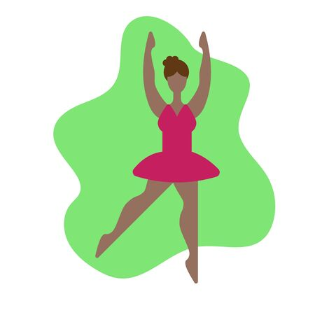 Body positive in modern style. Cartoon cute girl. Vector poster. Body positive in modern style. Beautiful dancer ballerina. Beautiful female figure. Female girl model. Attractive cartoon character