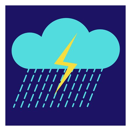 Modern icon illustration of cloud with rain and lightning on blue backdrop. Blue background. Vector icon. Graphic vector art. Simple element illustration. Social media web banner. Ilustração