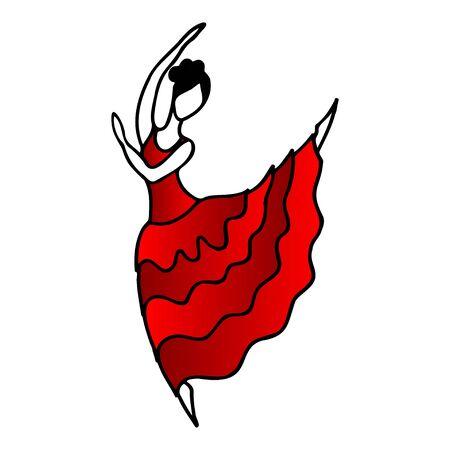 Hand drawn spanish flamenco dancer in red dress. Cartoon flamenco dancer for lifestyle design. Fashion illustration 向量圖像