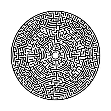 Difficult circle maze. Hard round vector labirinth. Vector black circle maze on white background. Education puzzle with search of solution. Circular isolated labirinth. A game for logic find way exit Ilustración de vector