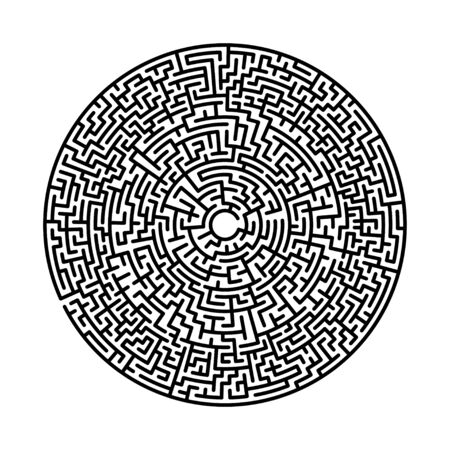 Difficult circle maze. Hard round vector labirinth. Vector black circle maze on white background. Education puzzle with search of solution. Circular isolated labirinth. A game for logic find way exit
