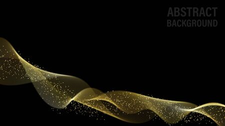 Abstract background with gold waves and glitter. Abstract digital gold gradient waves. Black background. Shiny golden moving sparkle design element with glitter effect. Vector decorative illustration